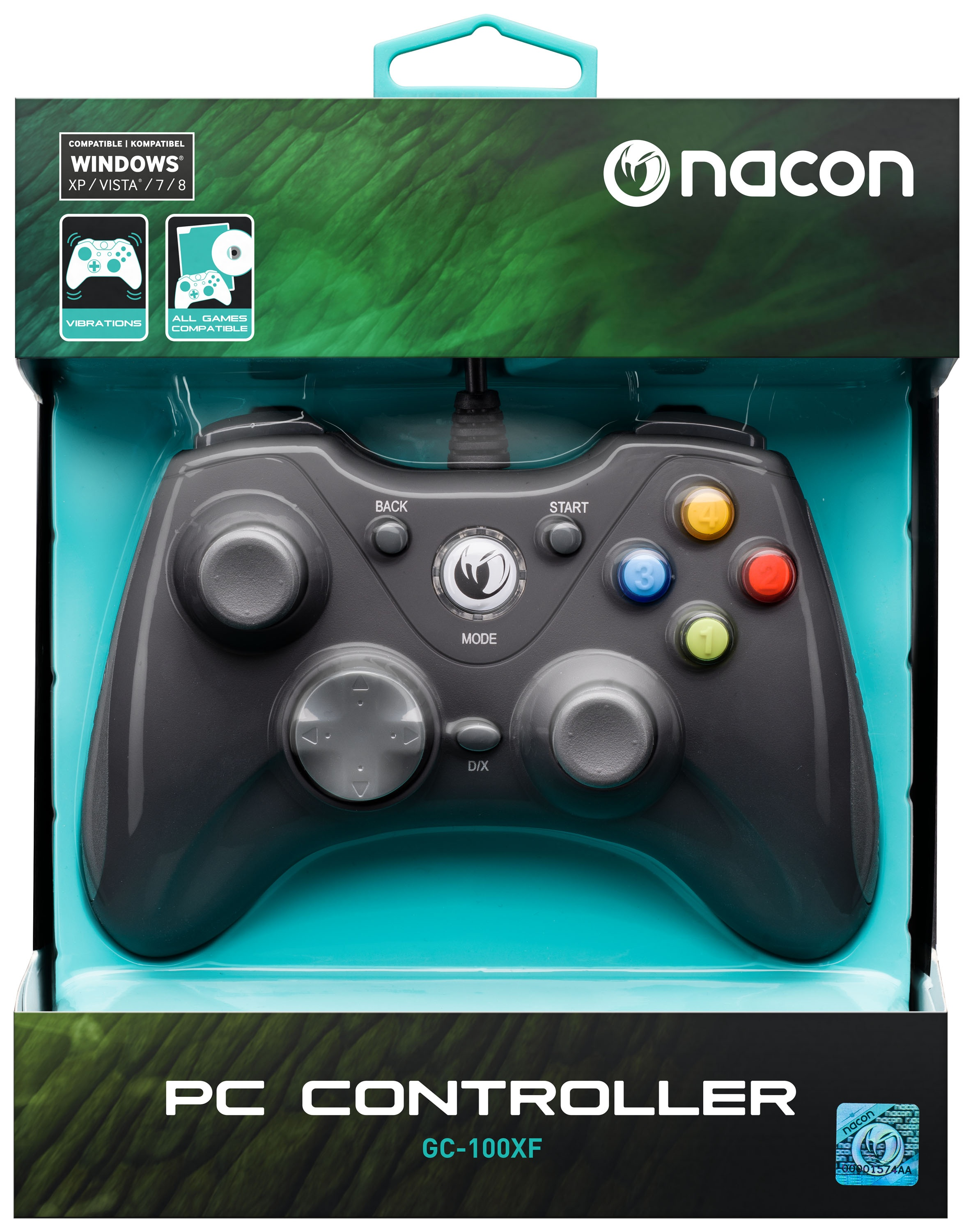 NACON Vibrating Gaming Controller for PC with Wire - eveikals.lv