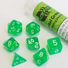 Blackfire Dice - 16mm Role Playing Dice Set - Crystal Green (7 Dice) 40035