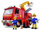 (U) Simba Firefighter Sam Deluxe Jupiter fire engine with 2 figures (Used/Damaged Packaging) /Toys