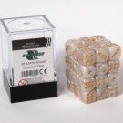 Blackfire Dice Cube - 12mm D6 36 Dice Set - Marbled White Gold 91729