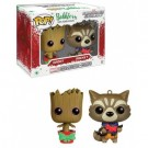 Funko POP! Marvel Guardians - Christmas Groot & Rocket Raccoon 2-Pack Mini Wobblers limited FKMCC007-03